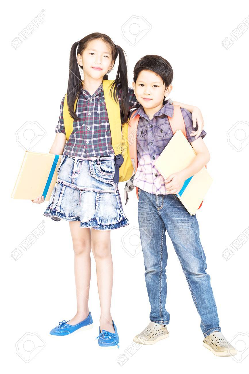 10 and 7 years old Asian school girl and boy standing and holding book  isolated over