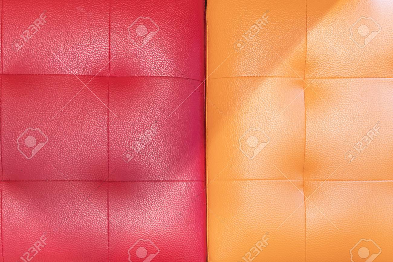 Red And Orange Sofa Cover Lather Texture Background Stock Photo ...