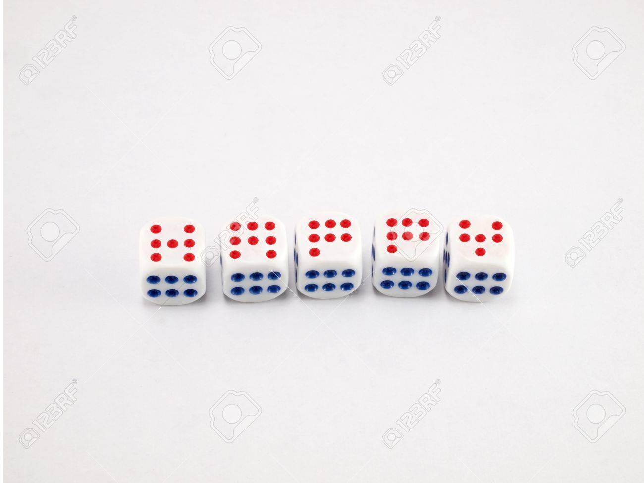 Happy that we build on the dice Stock Photo - 10659475