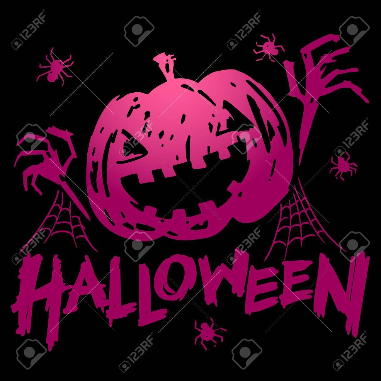 Jack-o-lantern Pumpkin Head With Spider, Cobweb And Halloween ...