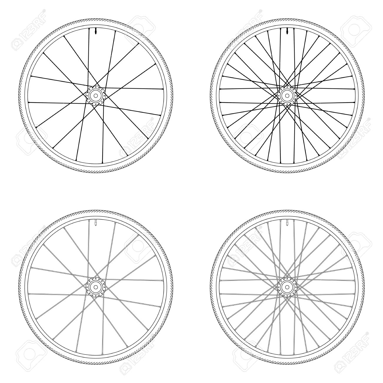 Bicycle Spoke Wheel Tangential Lacing Pattern 3x Black And White