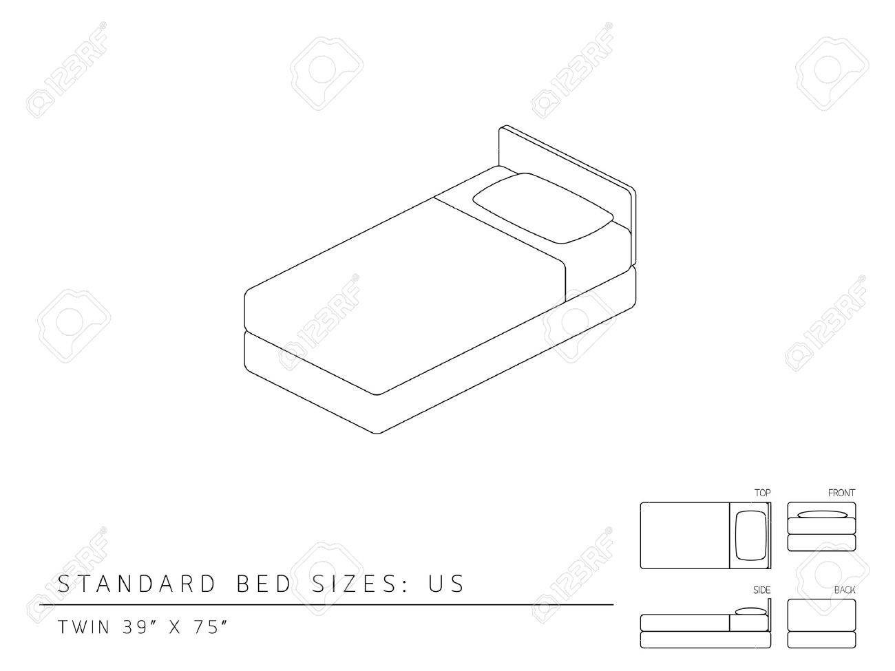 Standard Bed Sizes Of Us United States Of America Twin Size Royalty Free Cliparts Vectors And Stock Illustration Image 53131072