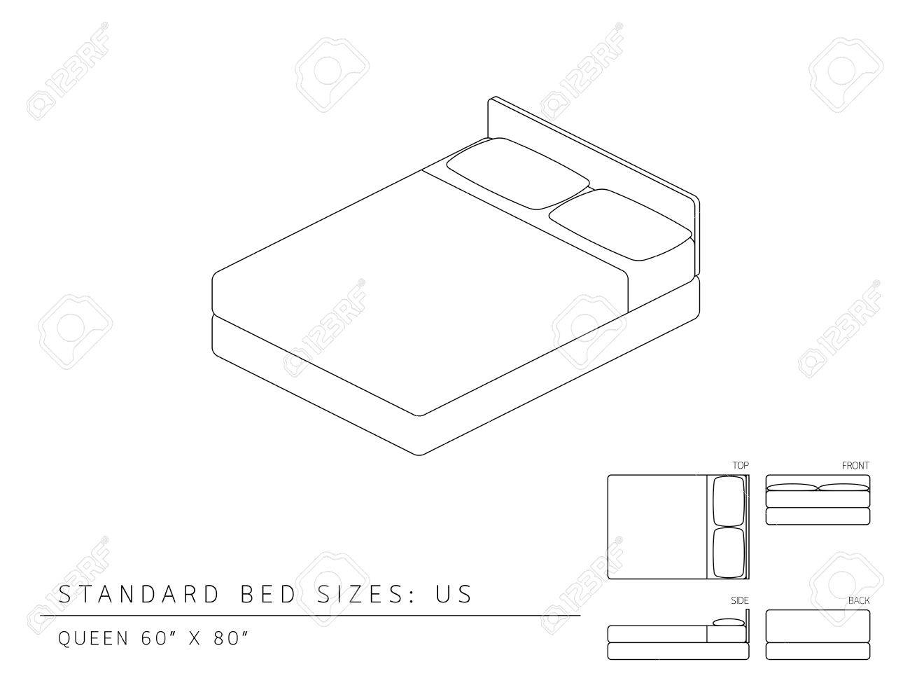 Standard bed sizes of us (United States of America) Queen size 60 x 80