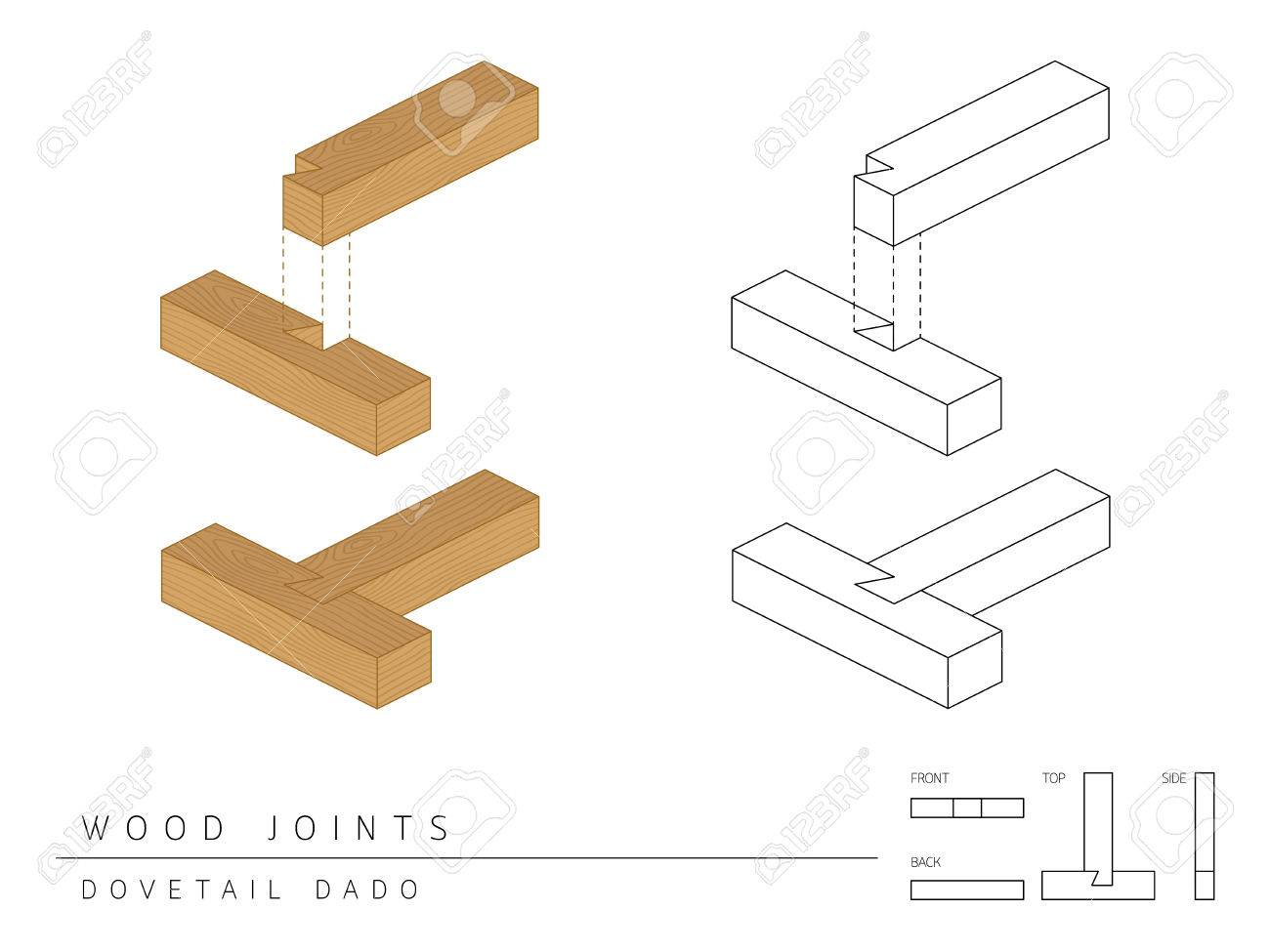 Type Of Wood Joint Set Dovetail Dado Style Perspective 3d With