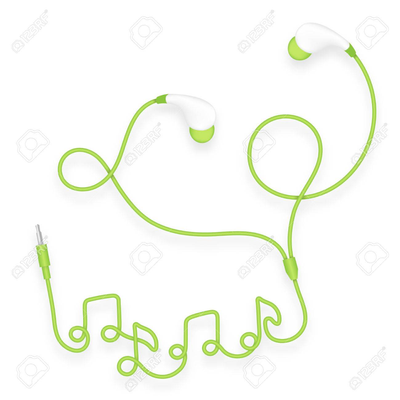 Earphones In Ear Type Green Color And Music Note Symbol Made