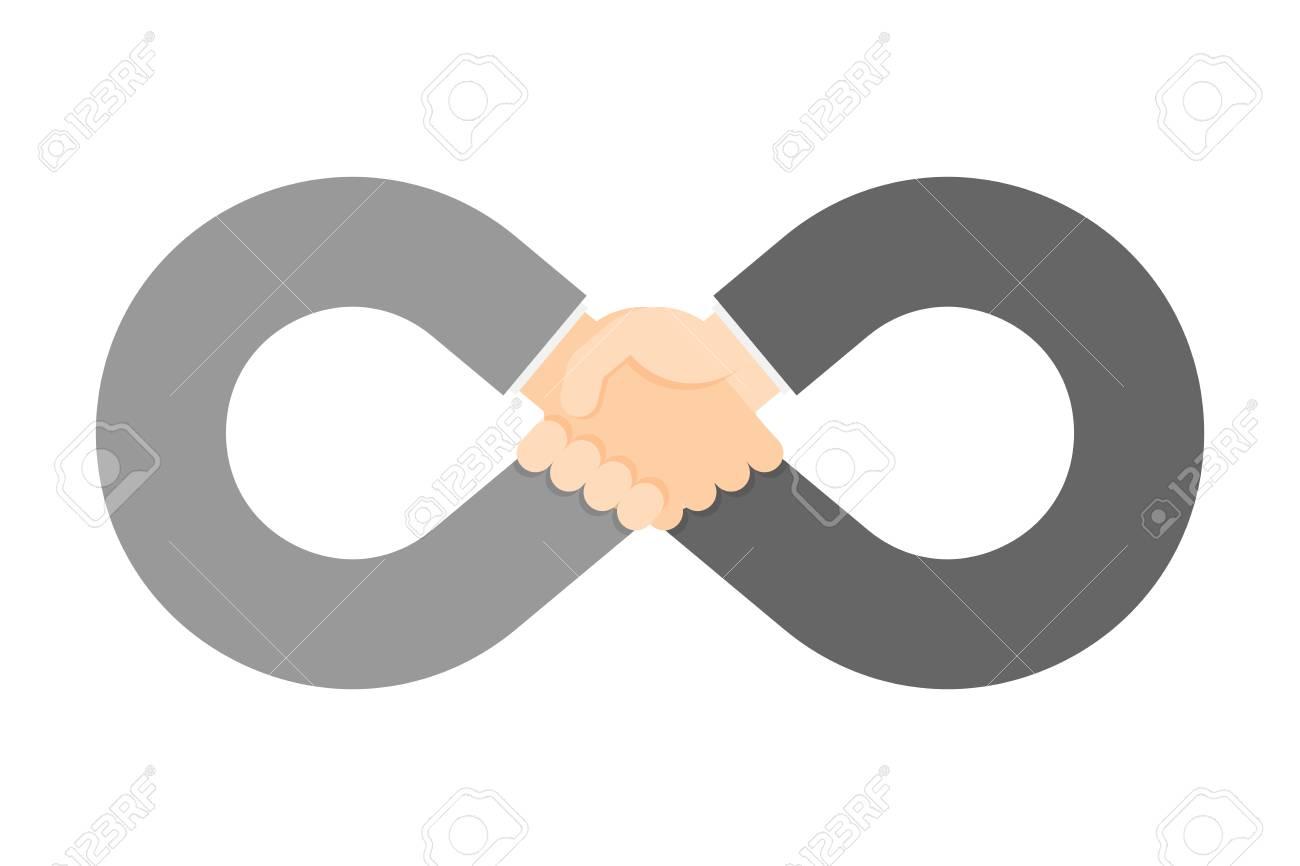 Handshake Infinity Symbol Shape Set Business Success Concept