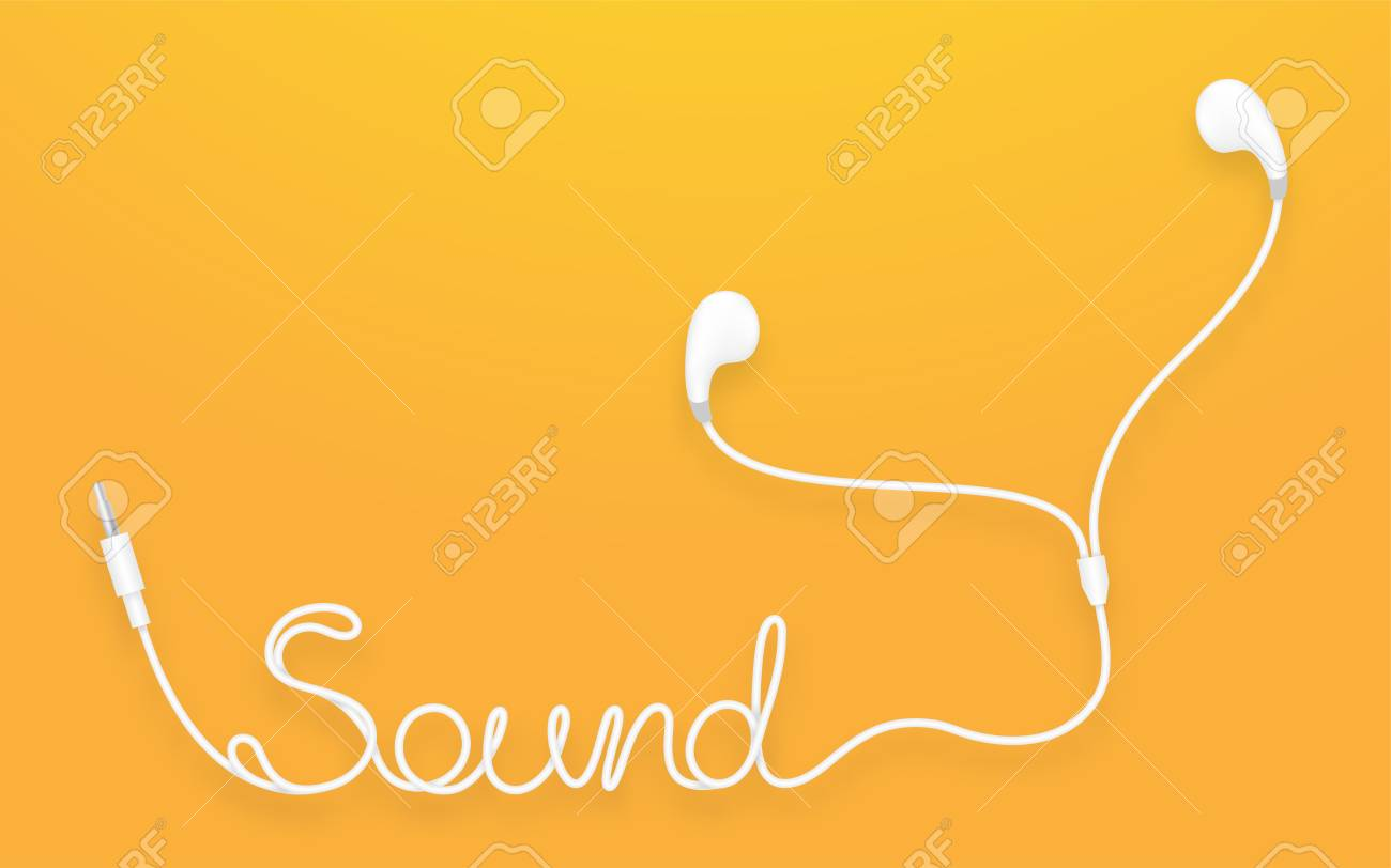 Earphones, Earbud type white color and Sound text made from cable isolated on yellow orange gradient background, with copy space - 90516977