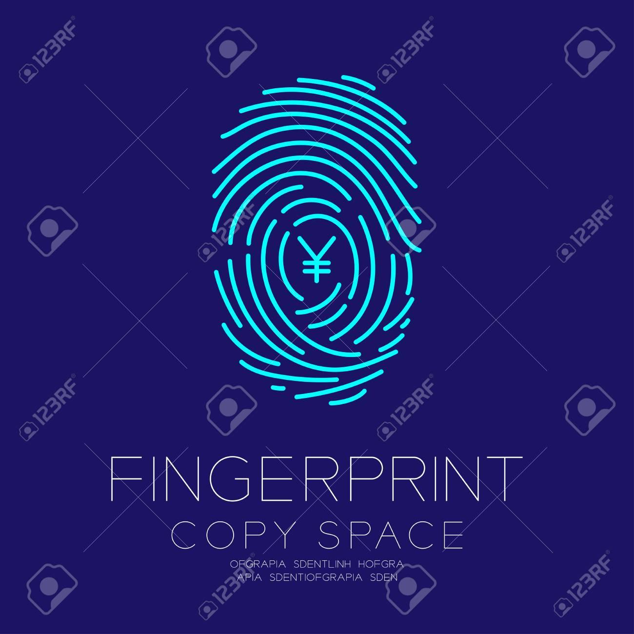 Fingerprint Scan Set With Currency Jpy Japanese Yen Symbol