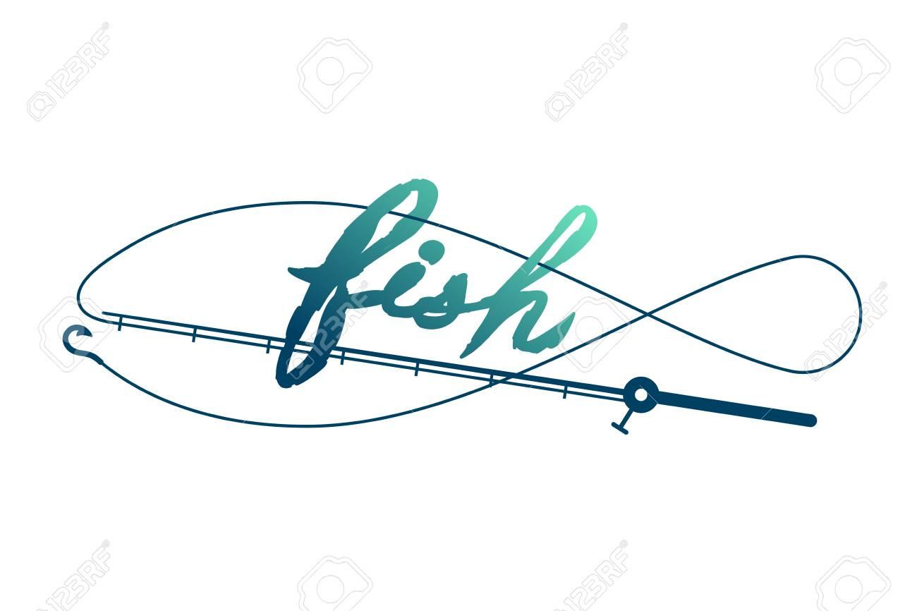Fish Shape Made From Fishing Rod Frame, Logo Icon Set Design Green ...