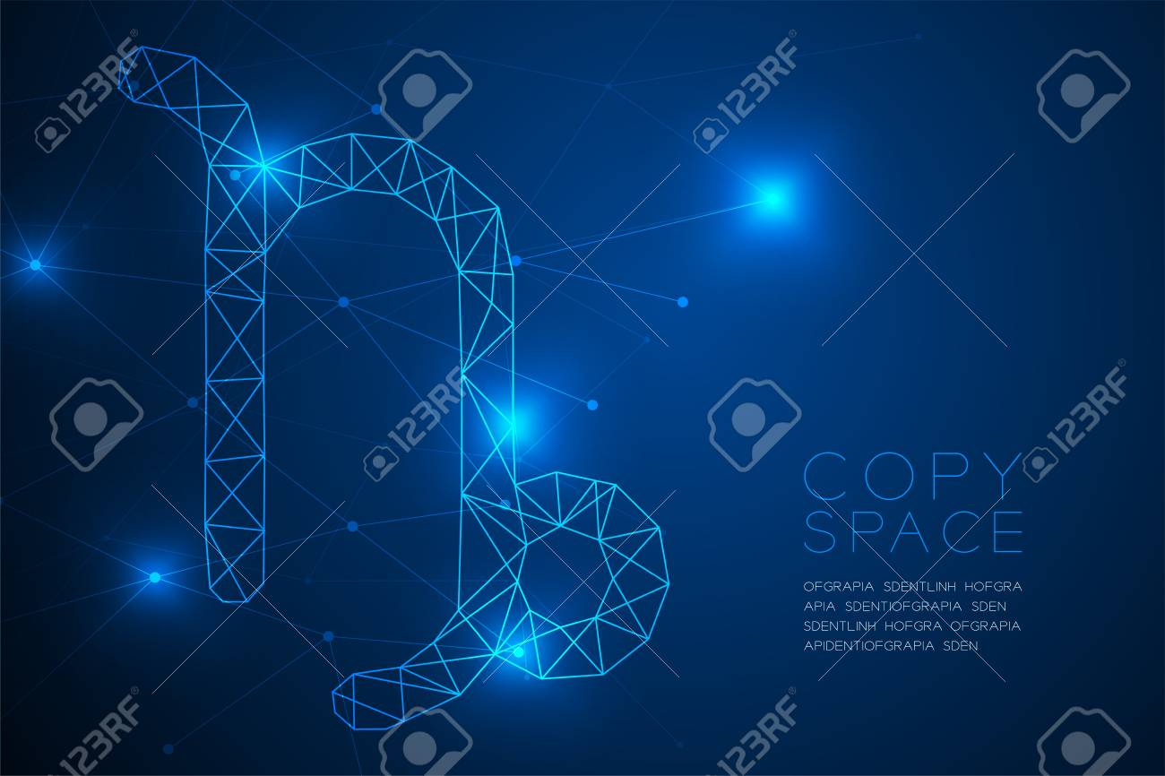 Capricorn Zodiac Sign Wireframe Polygon Frame Structure, Fortune ...