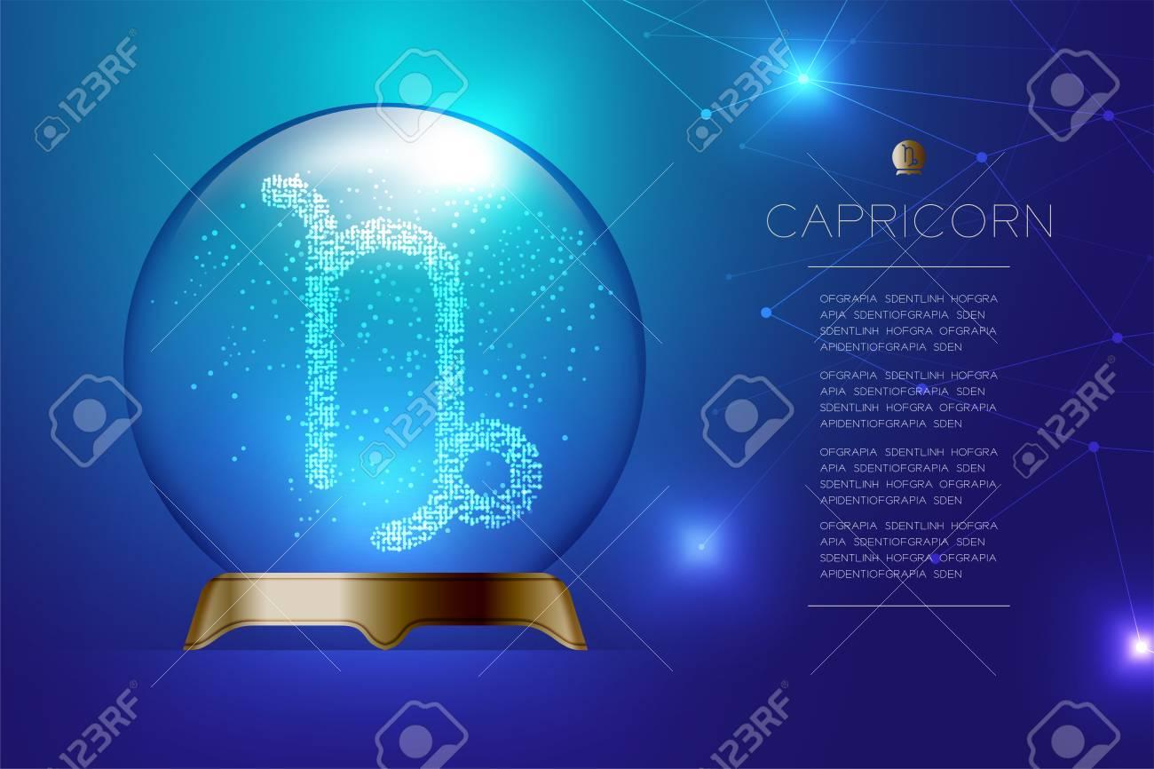 Capricorn Zodiac Sign In Magic Glass Ball, Fortune Teller Concept ...