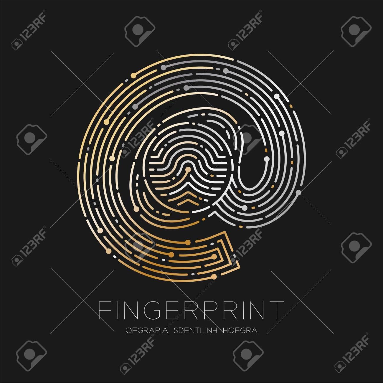 At sign icon fingerprint scan pattern logo dash line digital technology online concept illustration