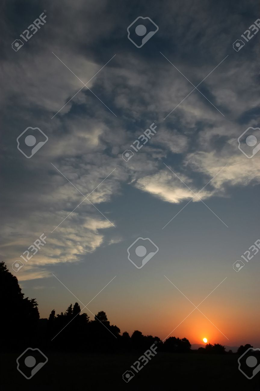 Landscape With Beautiful Sun Rising Scene Stock Photo Picture And