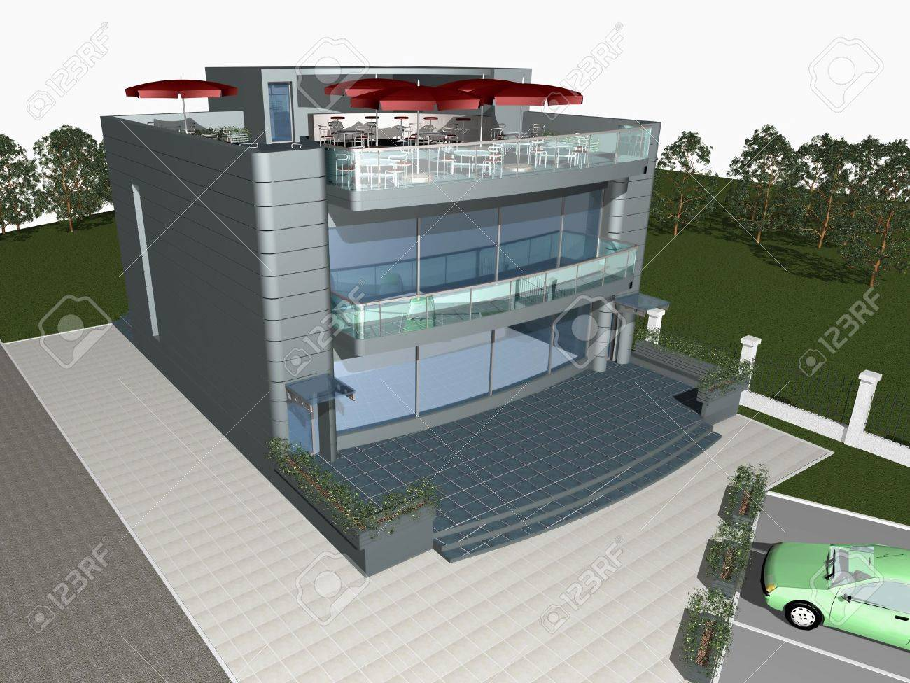 3d render of modern house with parking space and car in front of building Stock Photo - 2539154