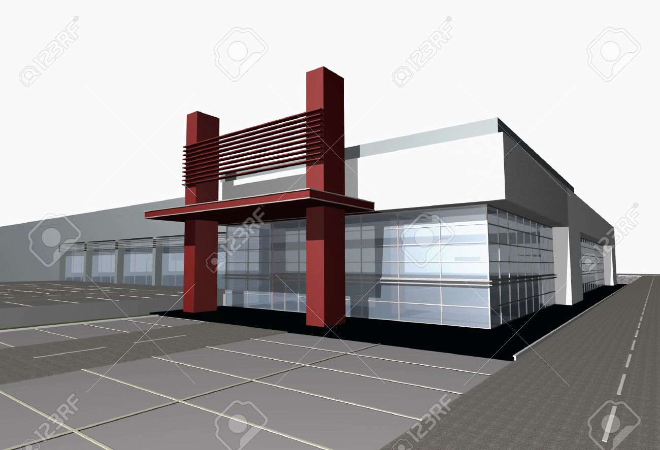 3d digital render of modern business center building over white background Stock Photo - 2547701