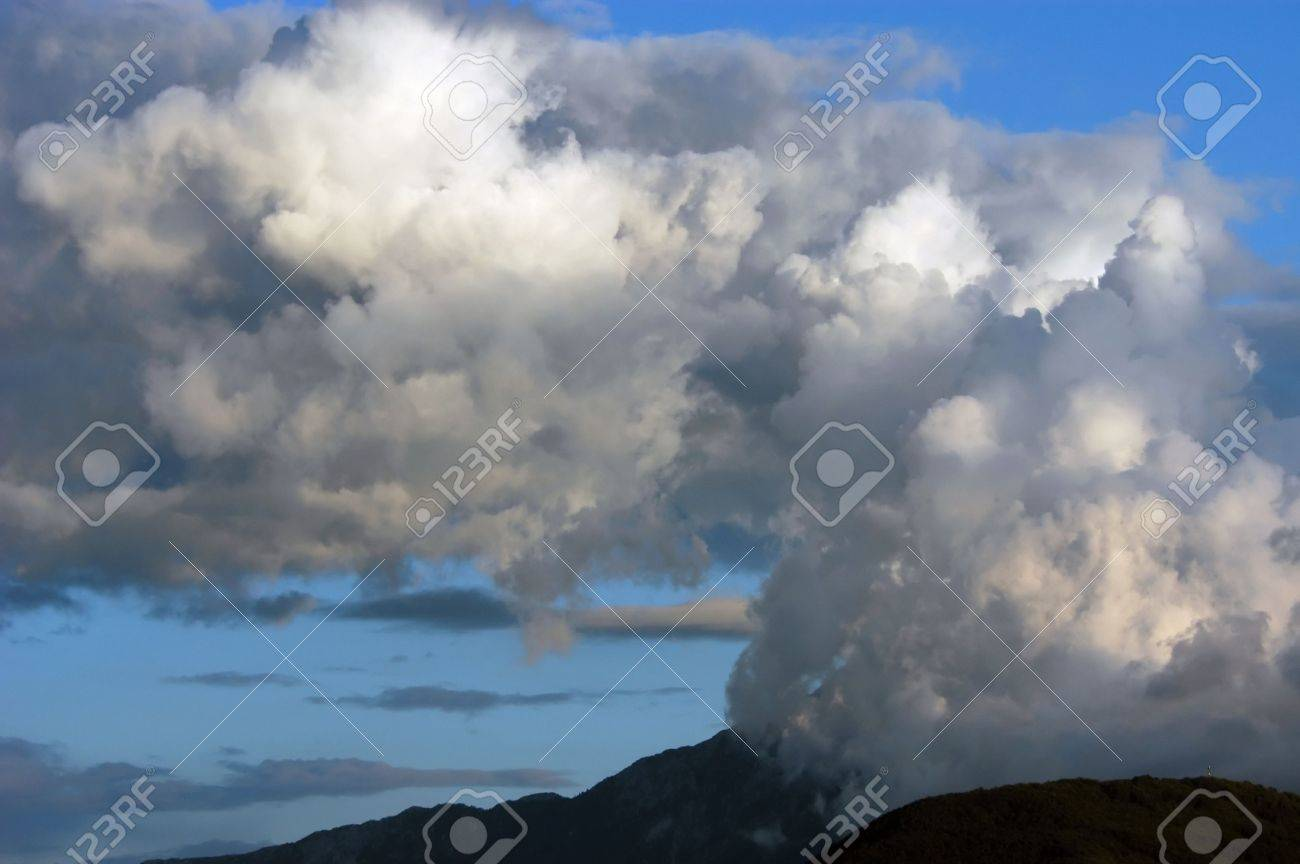 Dangerous thunderstorm clouds above Mountain, Mount Athos, Halkidiki,