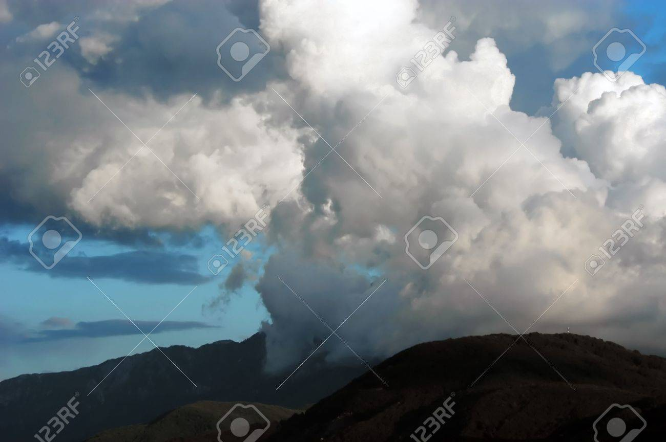 Dangerous thunderstorm clouds above mount Athos, Halkidiki, Greece,