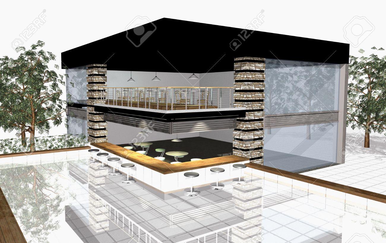 3D Render De La Maison Moderne Avec Un Bar Extérieur Et De Piscine ...
