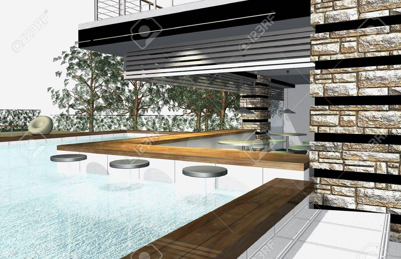 3D Render Von Außen Modernes Haus Mit Pool Lizenzfreie Fotos, Bilder ...