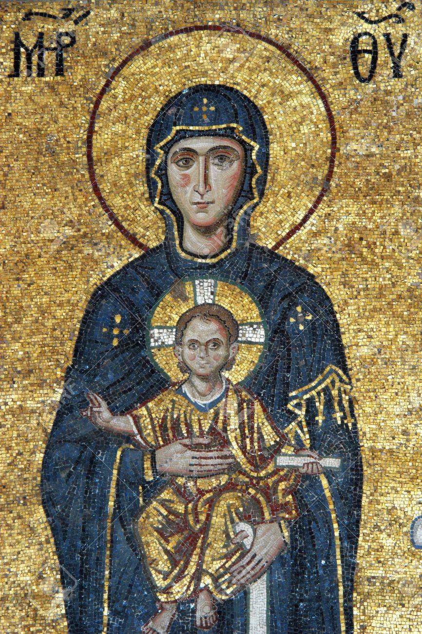 Mosaic of Virgin Mary and Jesus Christ in Hagia Sofia church, Istanbul, Turkey                                 Stock Photo - 4234802