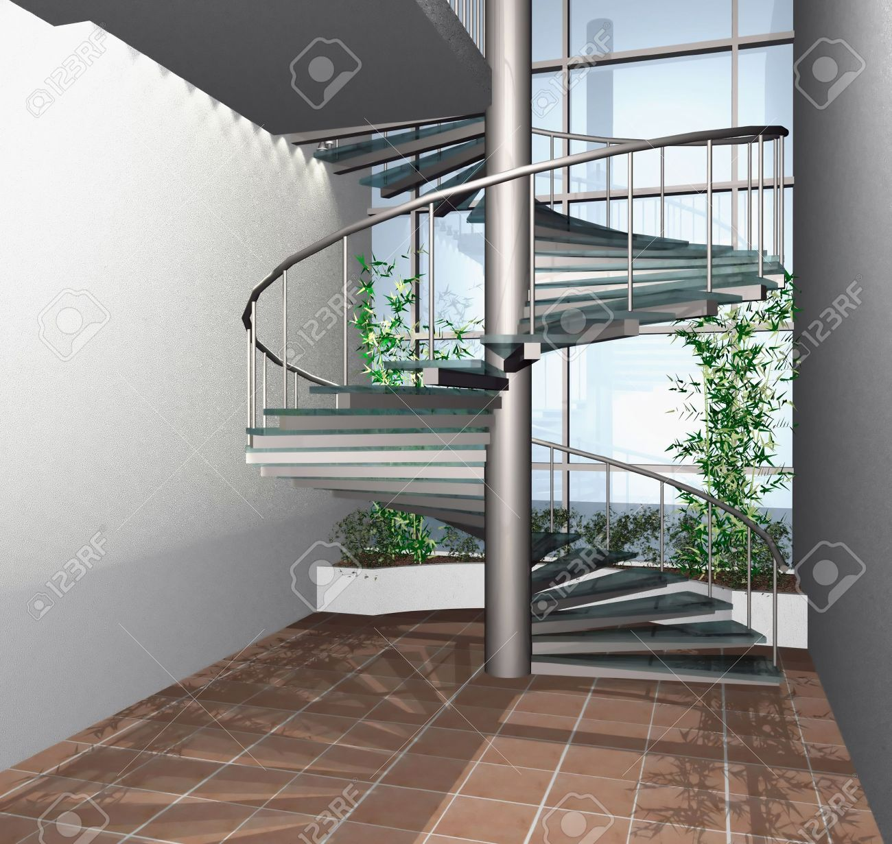 3d Render De Maison Moderne Cercle Interieur Avec La Construction D