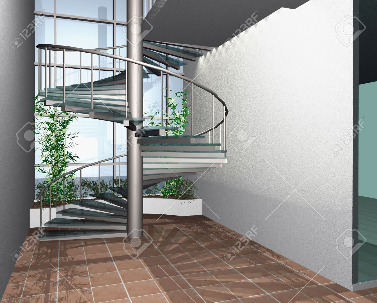 3D Render Of Modern House Building Interior With Circle Stairs Stock Photo