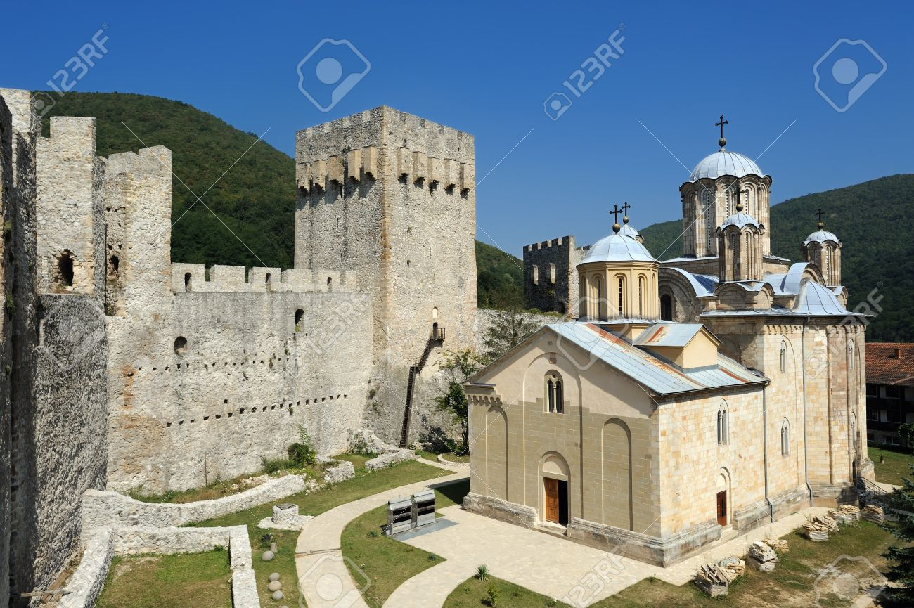 Serbian Orthodox Monastery Manasija, also known as Resava, founded by Despot Stefan Lazarevic between 1406 and 1418. Stock Photo - 8744889