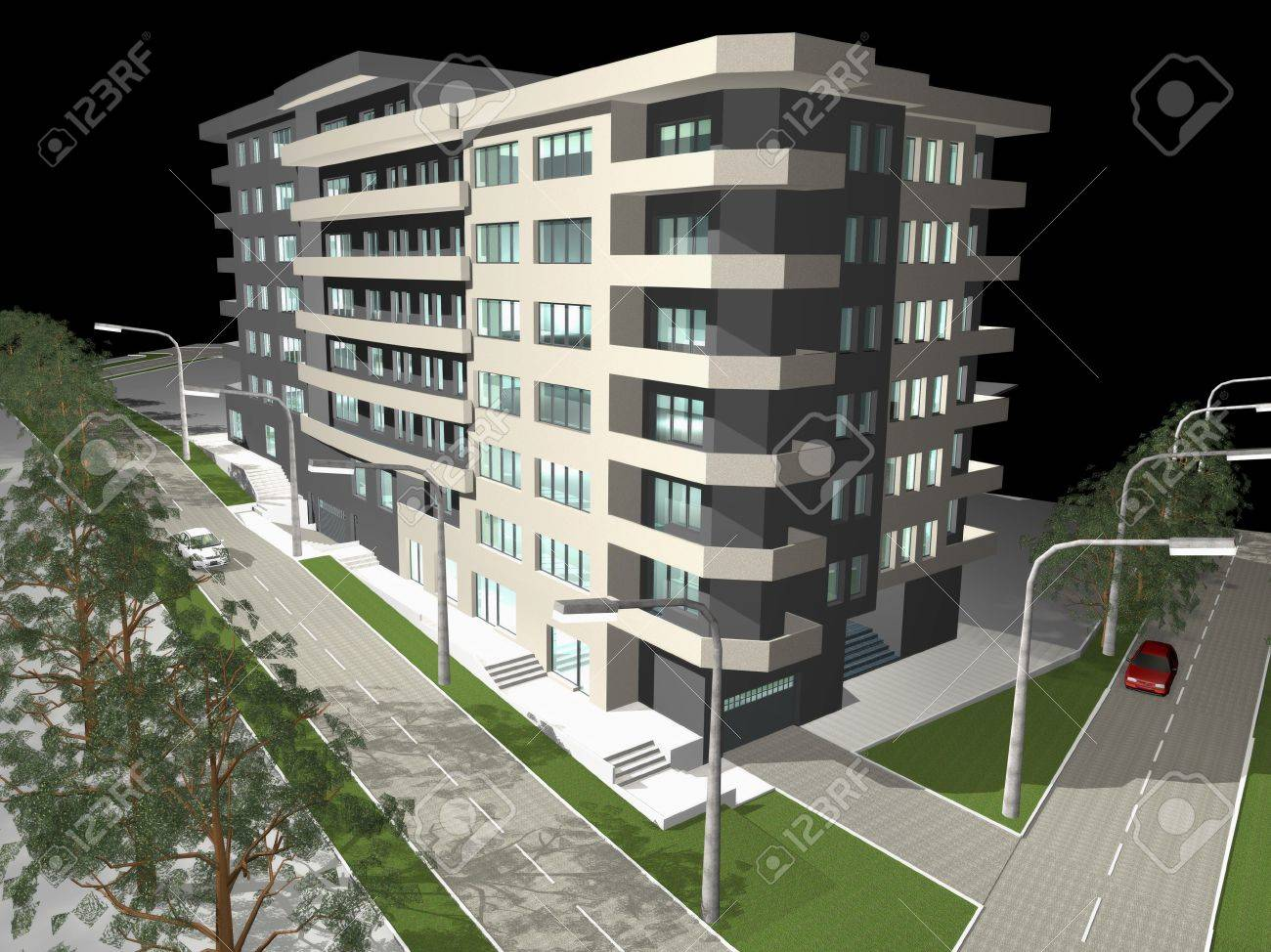 3D rendering of modern building, night preview Stock Photo - 9893436
