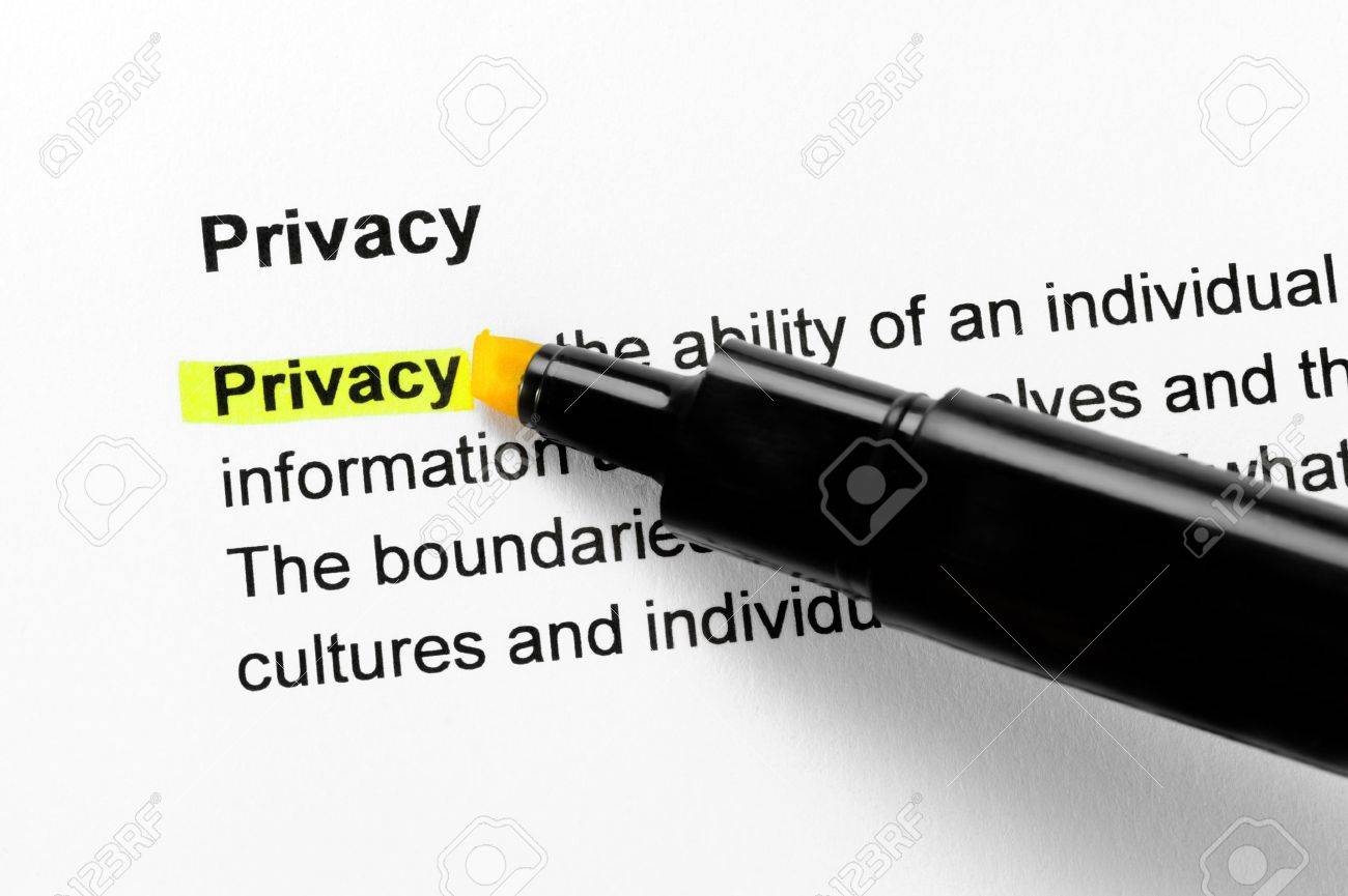 Privacy text highlighted in yellow, under the same heading Stock Photo - 10284593