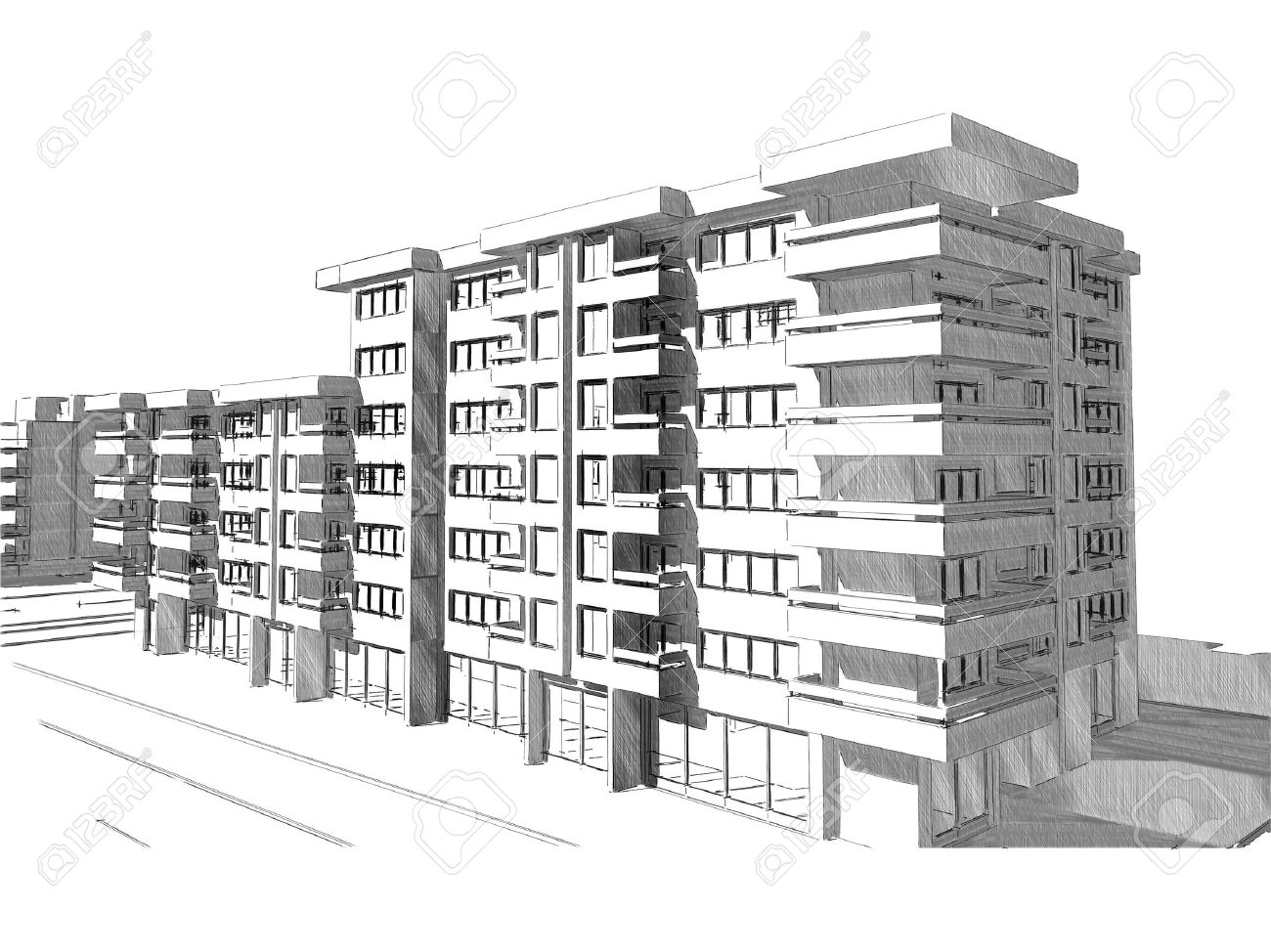 Sketch idea drawing of modern residential building