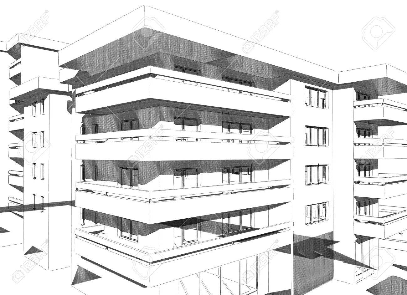 Sketch Idea Drawing Of Modern Residential Building Stock Photo