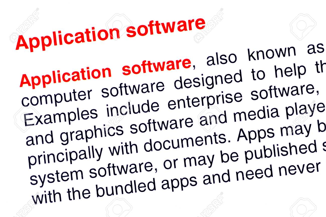 Application software text highlighted in red under the same heading