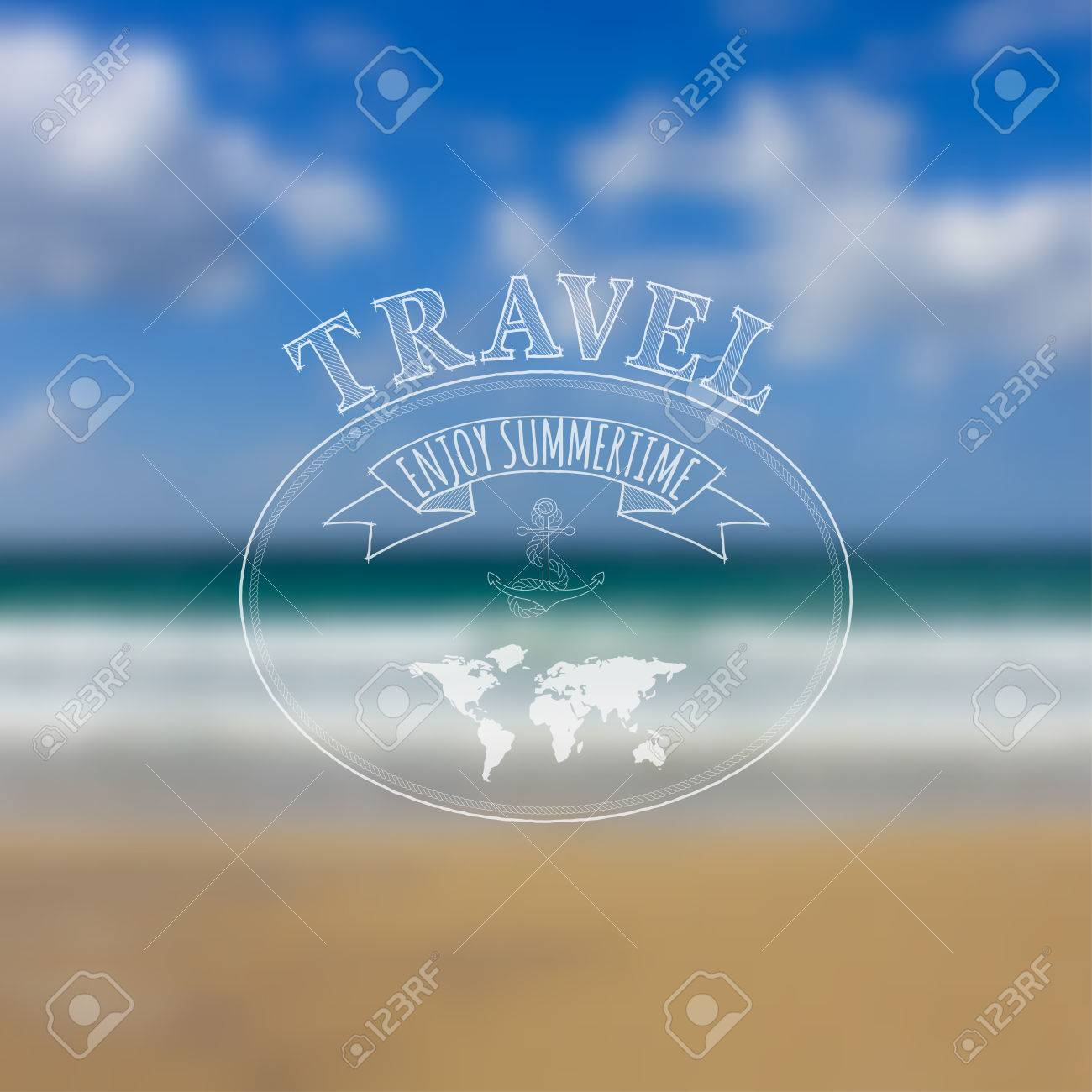 Travel label on blurred sea beach background hipster style travel label on blurred sea beach background hipster style travel and summer time concept kristyandbryce Image collections
