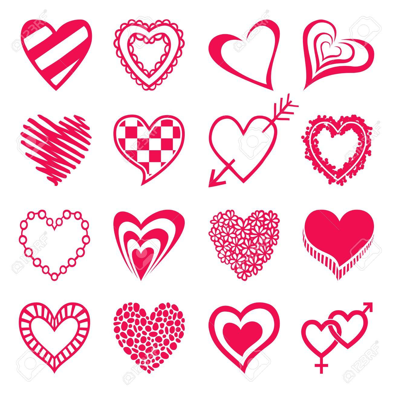 Set Of Heart Shaped Icons Design Elements For Valentines Day