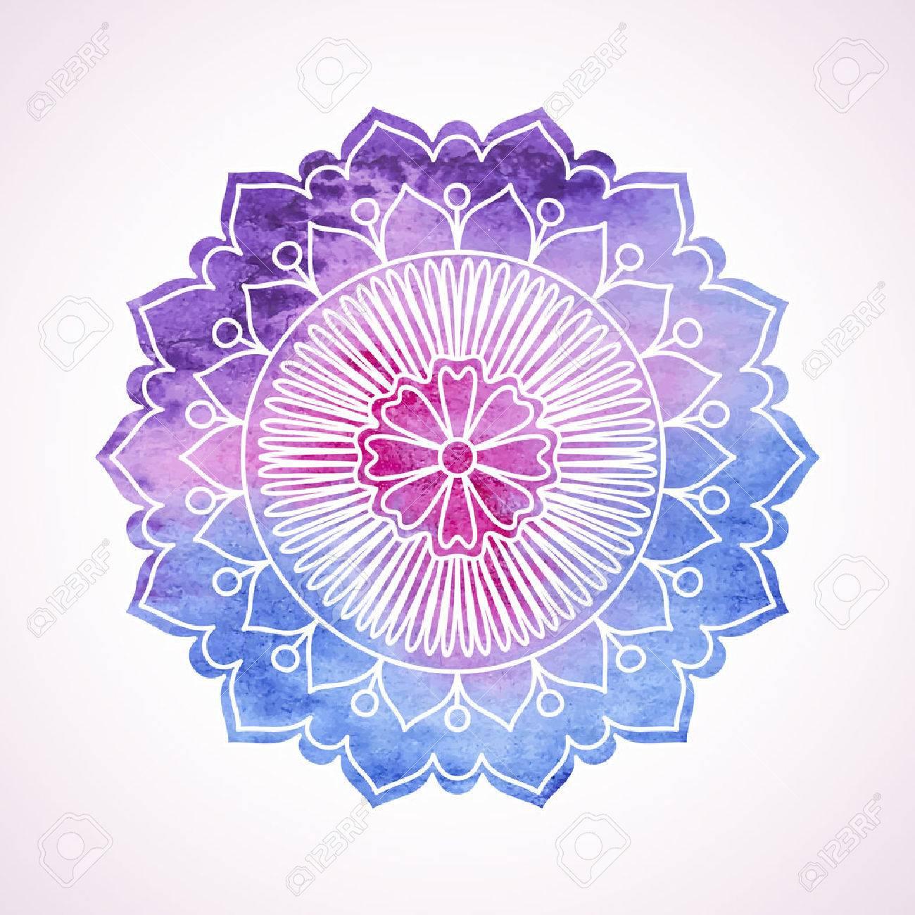 Doodle Et Aquarelle Fleur Peint à La Main élément Graphique Boho Et Mandala De Style Ethnique Art Décoratif Pour Des Cartes Danniversaire De