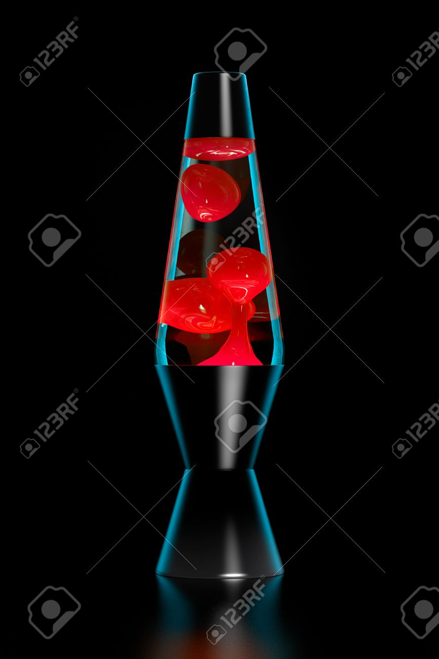 Lava Lamp With Red Lava On Black Background Dark Key. Stock Photo ...
