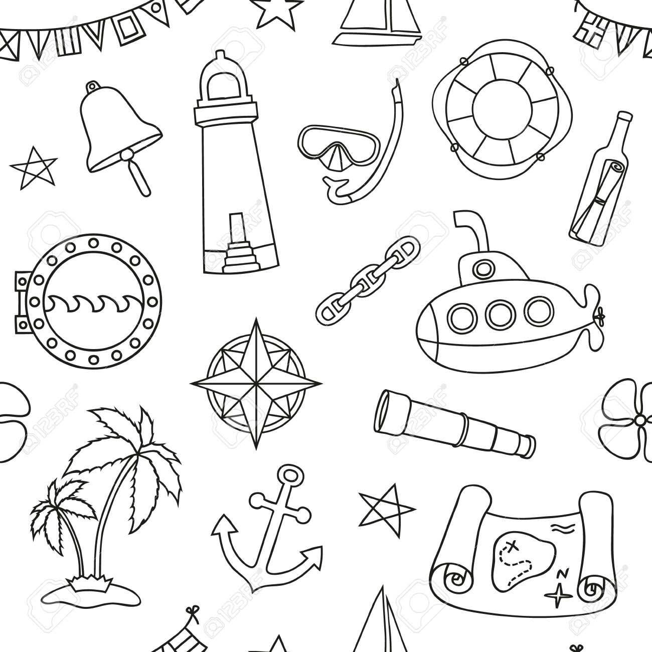 Seamless Nautical Pattern. Graphic Design Elements For Printables ...