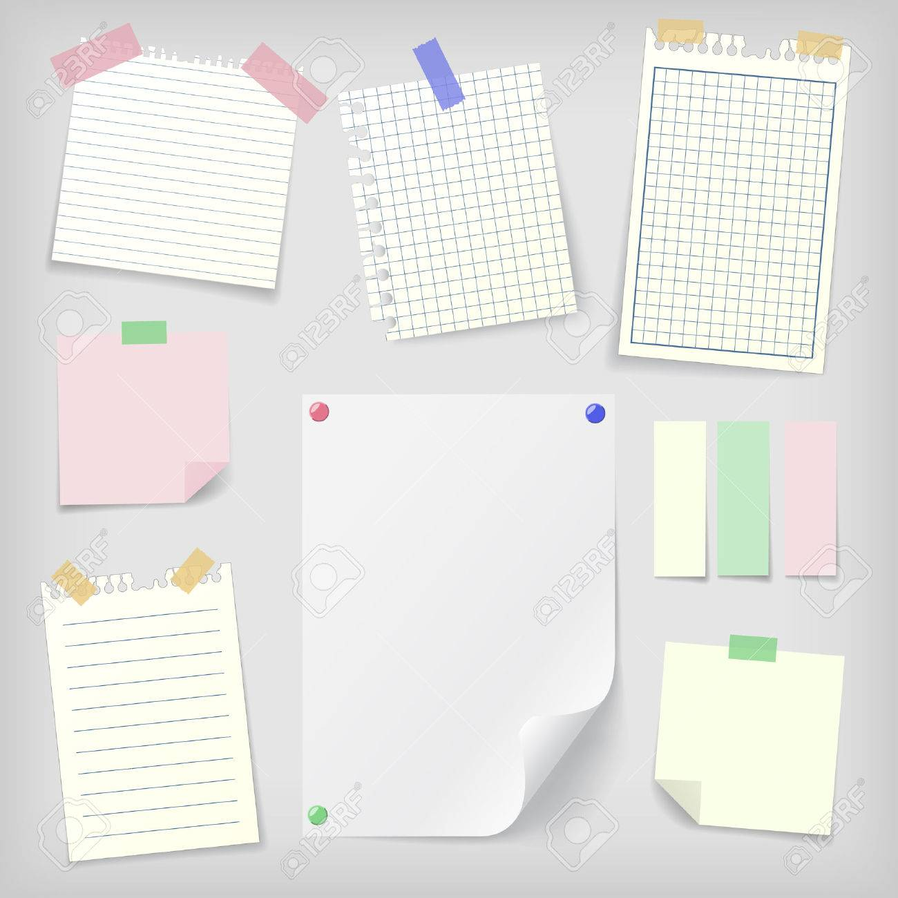 Sticky Notes Set Of Realistic Sticky Notes, Lined And Squared ...