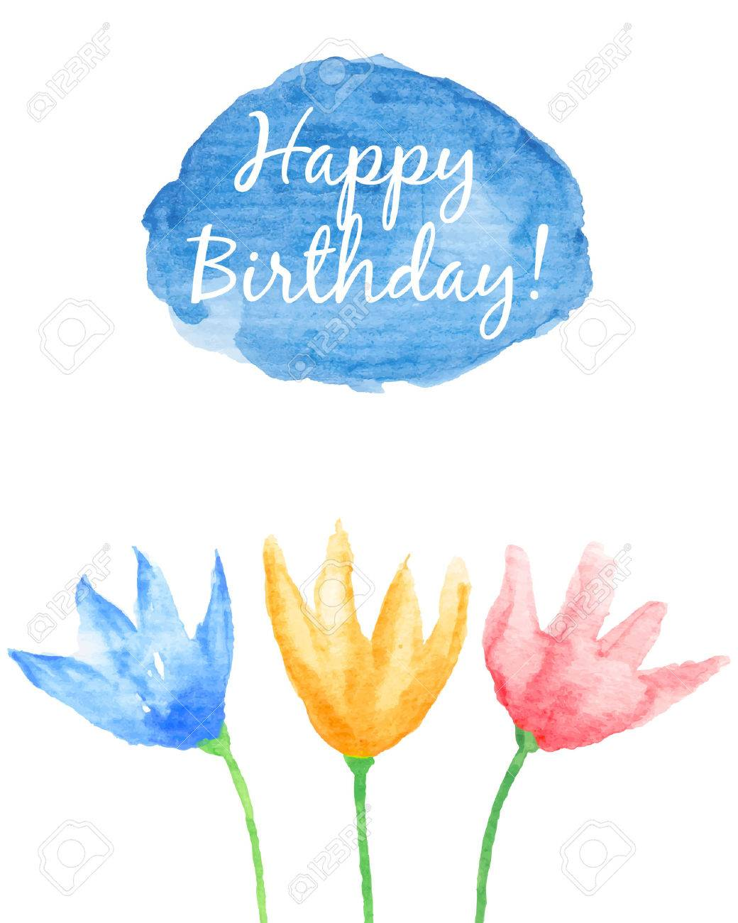 Floral Happy Birthday Card Hand Painted Watercolor Flowers Change The Caption And Use This