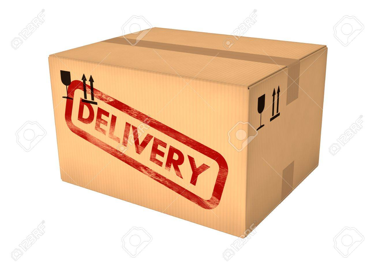 Charmant Delivery Box. Closed Cardboard Box Isolated On White Background. Retail,  Logistics, Delivery