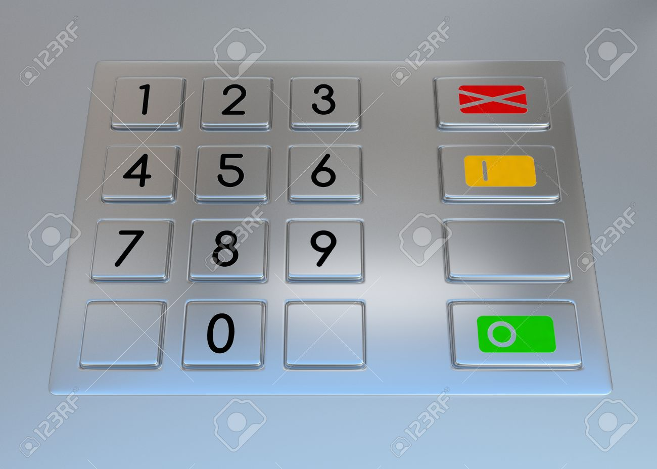 Atm machine keypad  Numbers buttons with additional red, yellow