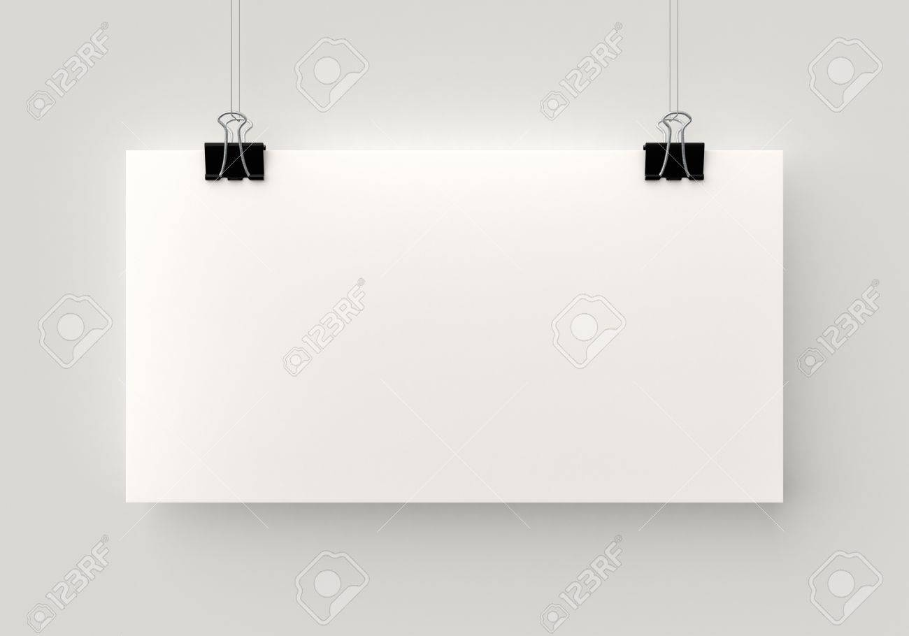Poster Hanging On A Thread With Two Black Clips Blank Horizontal Sheet Of  Paper Against