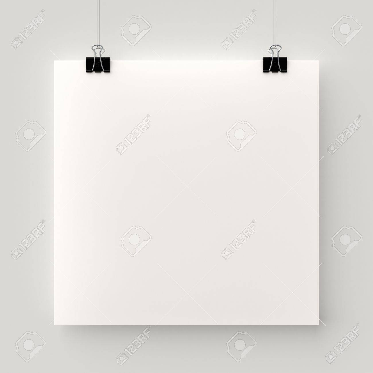Poster Hanging On A Thread With Two Black Clips Blank Square Sheet Of  Paper Against