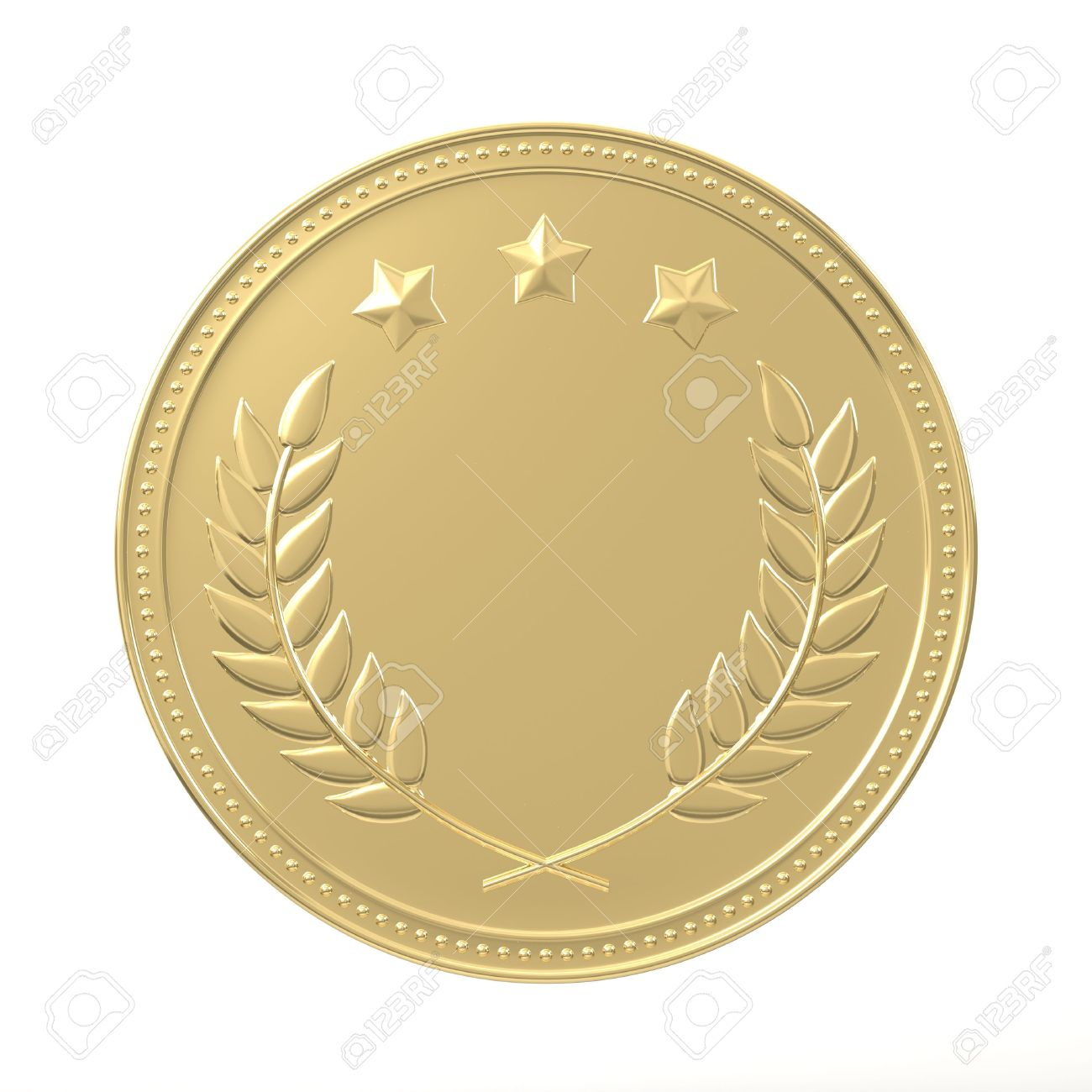 Gold Medal With Laurels And Stars Round Blank Coin With Ornaments Stock Photo Picture And Royalty Free Image Image 42101211