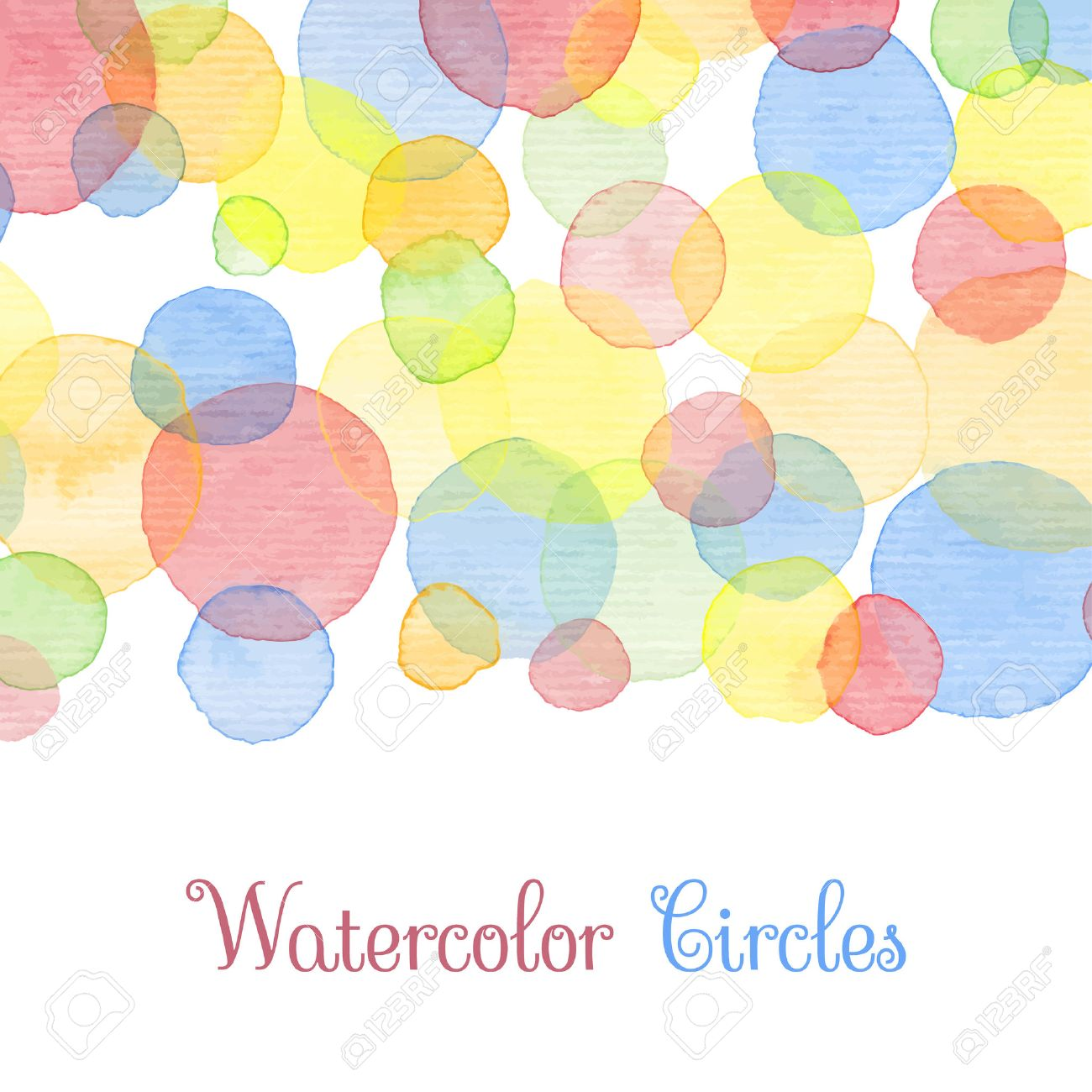 Hand painted water color circles with text cute decorative template cute decorative template bright colorful border panels great for baby shower invitation birthday card scrapbooking etc vector illustration stopboris Images