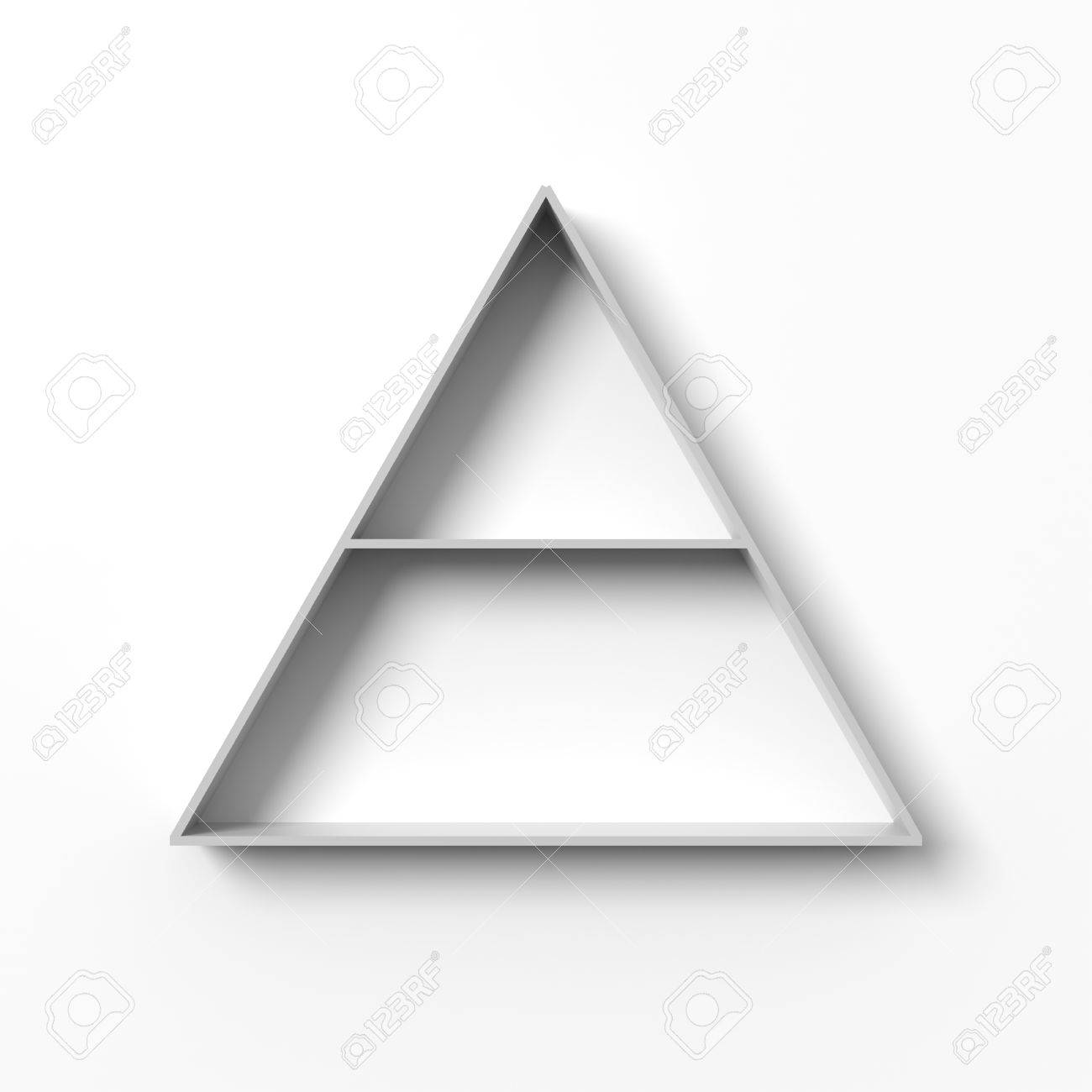 White Triangular Shelves Hanging On A Wall With Light And Shadows