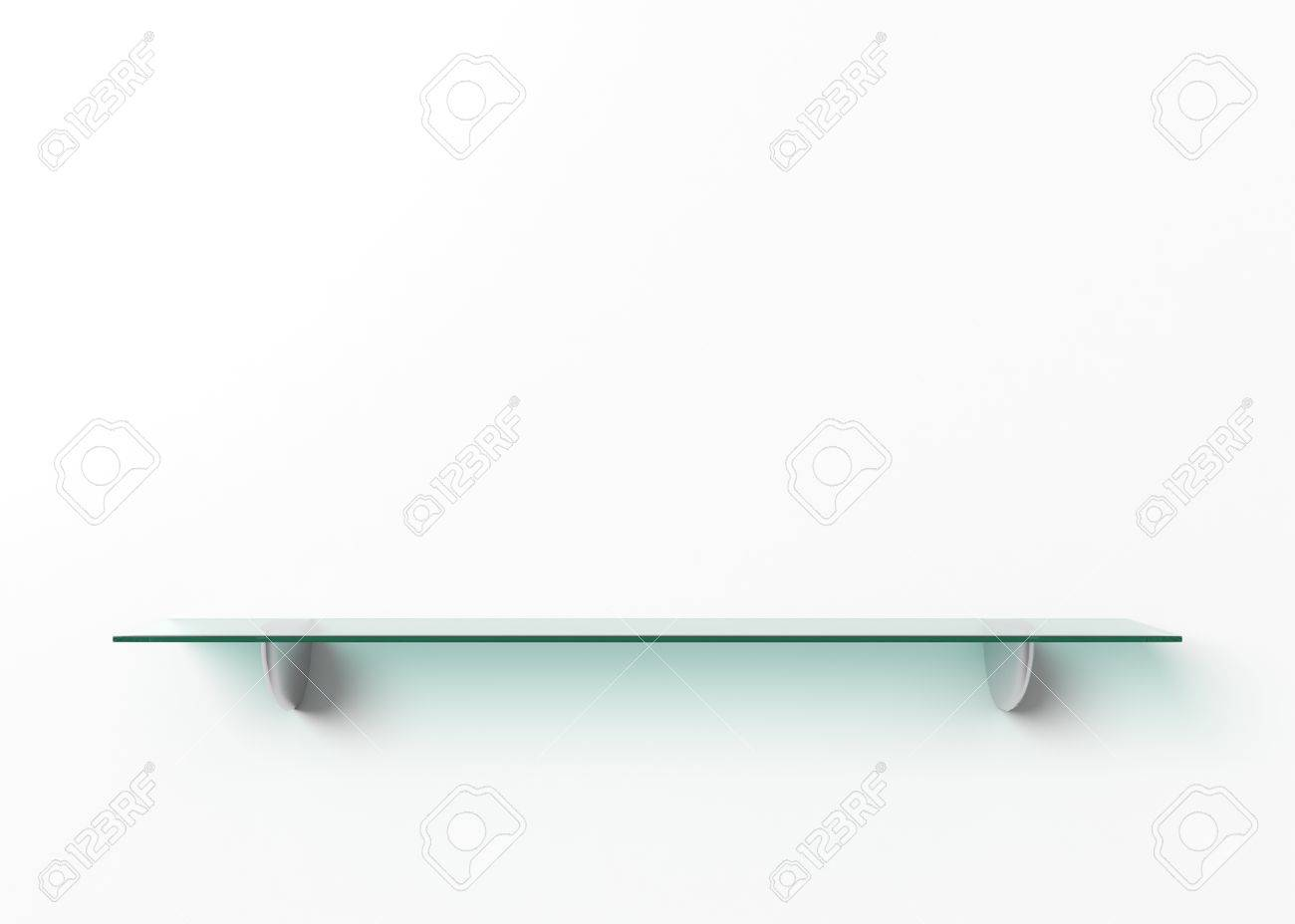 White Shelf Hanging On A Wall With Light And Shadows Blank Template