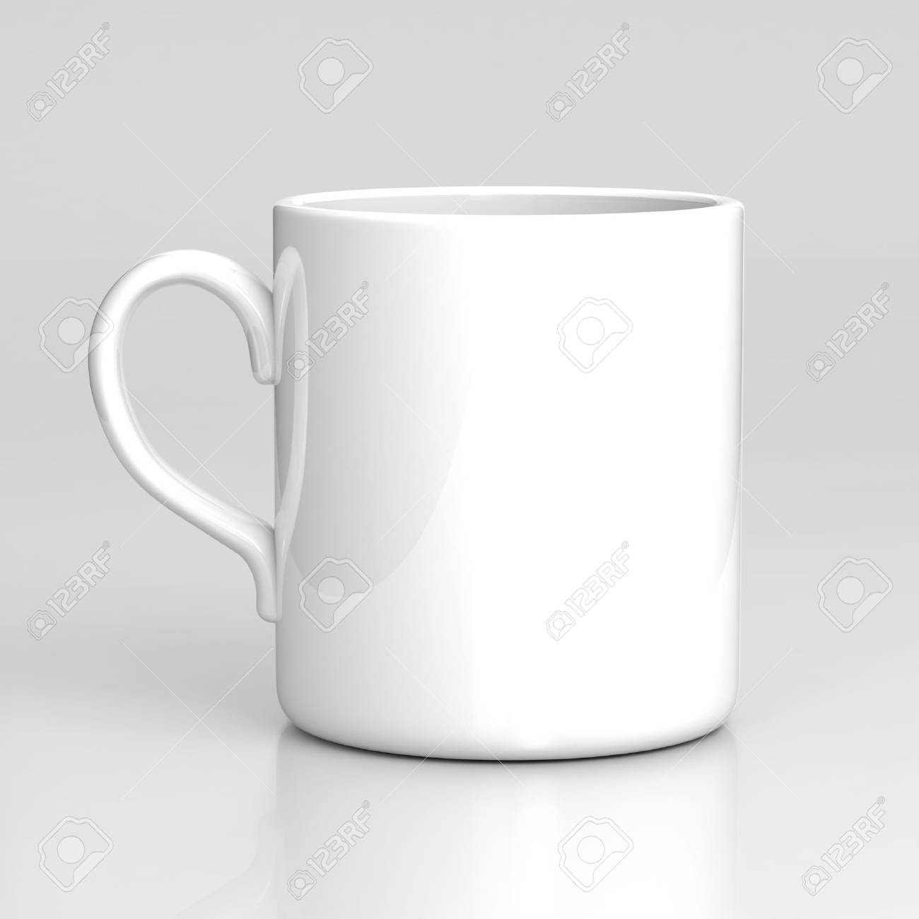 White Coffee Mug On Gray Background. Black Template. Stock Photo ...