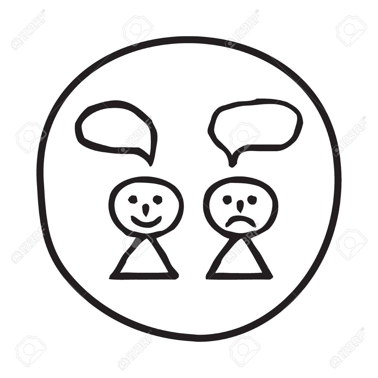 Doodle Happy And Sad Person Icon Infographic Symbol In A Circle