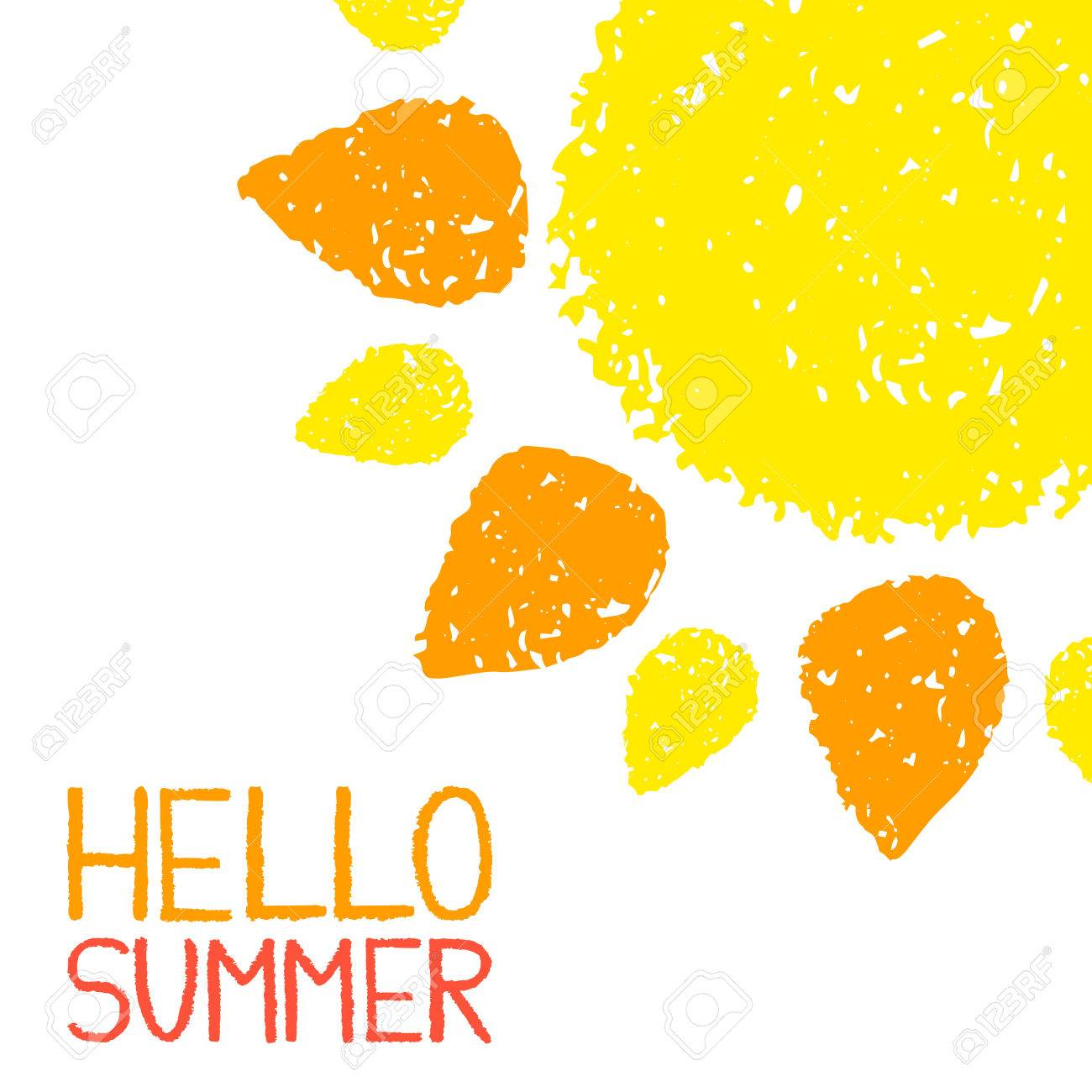 hello summer poster hand painted with oil pastel crayons bright